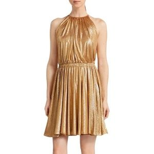 HALSTON HERITAGE   Gold A-Line Mini Dress Large